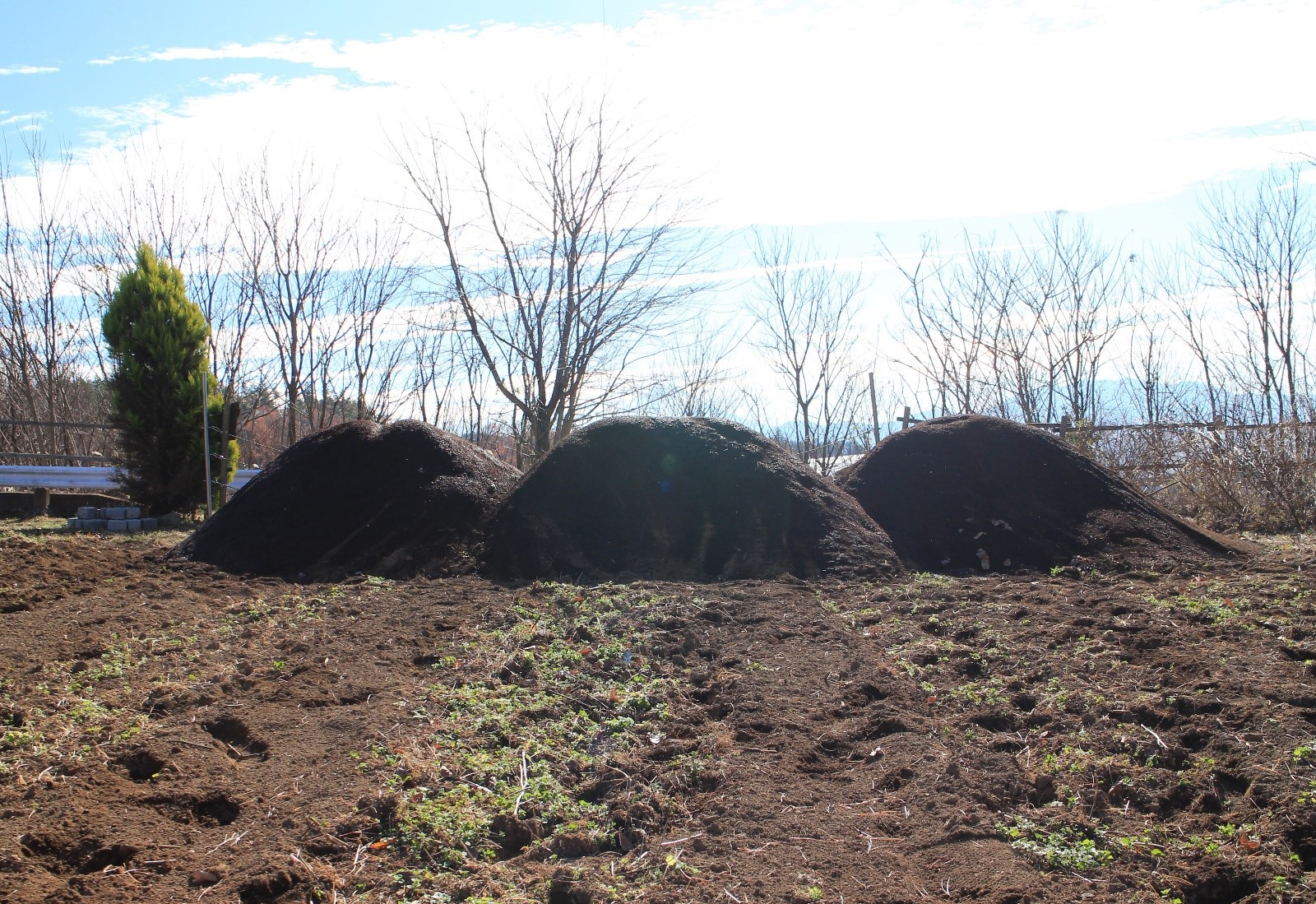 堆肥の山は八ヶ岳? 堆肥散布と害獣ネット
